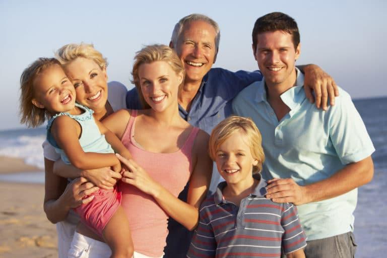 Portrait of three generation family on the beach