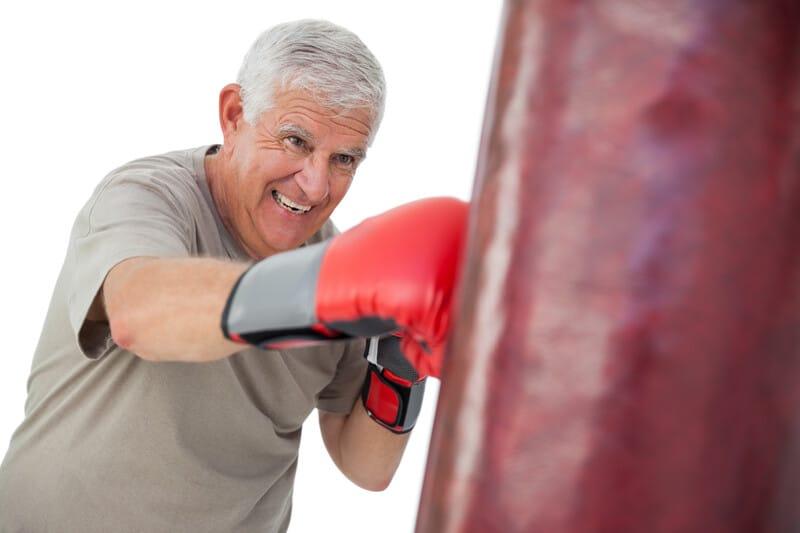 Portrait of a determined senior boxer